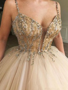 Charming Ball Gown V Neck Open Back Champagne Tulle Long Prom Dresses with Beaded,Quinceanera Dresses