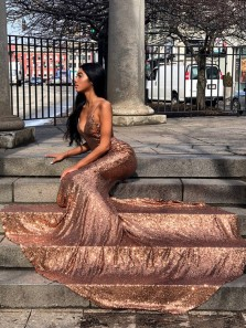 Mermaid V Neck Spaghetti Straps Backless Rose Gold Sequins Long Prom Dresses with Train,Formal Evening Party Dresses