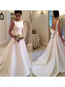 Simple Ball Gown White Satin Long Wedding Dress Open Back Ribbon Train with Bow