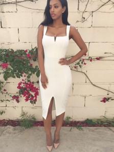 Body Con Square Neck Open Back Straps Midi Length Prom Dresses,Short Evening Party Dresses