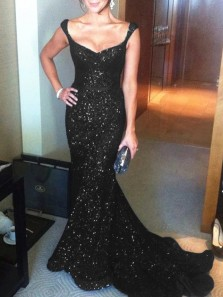 Sparkly Mermaid Low Cut Black Burgundy Sequins Long Prom Dresses with Train,Evening Party Dresses