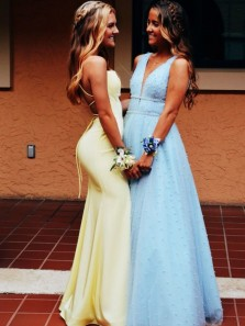 Exquisite Mermaid Scoop Neck Spaghetti Straps Daffodil Satin Long Prom Evening Dresses