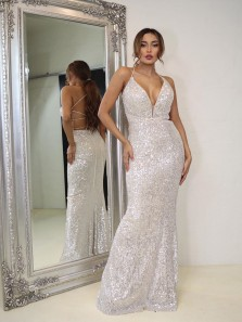 Sparkly Mermaid V Neck Cross Back Silver Sequin Long Prom Evening Dresses,Shiny Formal Party Dresses