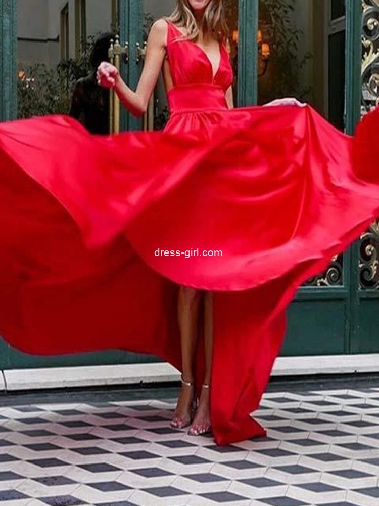 Simple A-Line V Neck Open Back Red Satin Long Prom Evening Dresses,Formal Party Dresses