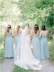 A-Line Off the Shoulder Simple Long Light Blue Chiffon Bridesmaid Dress with Ruched