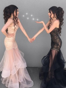 Unique Mermaid Spaghetti Straps Sweetheart Open Back Black Organza Long Prom Dresses,Evening Party Dresses