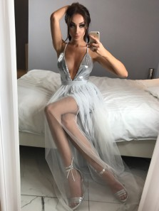 Unique A-Line V Neck Spaghetti Straps Open Back Grey Tulle Long Prom Dresses with Side Split,Evening Party Dresses