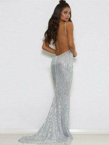 Sexy Mermaid Deep V Neck Backless Silver Sequins Long Prom Dresses,Evening Party Dresses