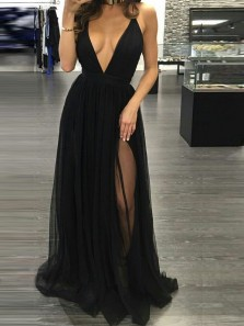 A-Line Deep V Neck Cross Back Black Long Prom Dresses with Side Split,Evening Party Dresses Under 100