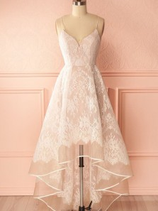 Charming A-Line Sweetheart Spaghetti Straps Open Back Light Blush Pink with White Lace High-Low Prom Dresses