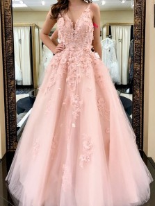 Princess A-Line V Neck Open Back Pink Tulle Long Prom Dresses with Flower Beading,Formal Quinceanera Dresses
