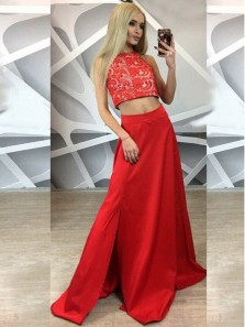 Stunning A-Line Halter Two Piece Red Satin Long Prom Dresses with Side Split,Lace Evening Party Gown DG8005