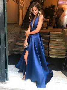 Charming A-Line Deep V Neck Backless Navy Satin Long Prom Dresses with Side Split,Formal Party Gown DG8006