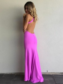 Elegant Halter Mermaid Lilac Elastic Satin Backless Long Prom Dresses with Side Split,Evening Party Dresses DG8007