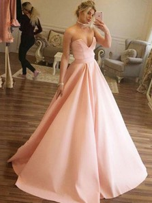 Classy A-Line Sweetheart Pink Satin Long Prom Dresses with Pockets,Sweep Train Evening Party Gown DG8010