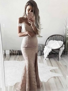 Elegant Off the Shoulder Champagne Lace Mermaid Long Prom Dresses with Side Split,Evening Party Dresses DG8013
