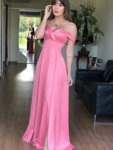 Elegant Off the Shoulder Hot pink Satin Long Prom Dresses with Side Split,A-Line Evening Party Dresses DG8016
