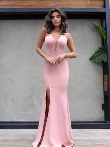 Elegant V Neck Open Back Pink Elastic Satin Mermaid Long Prom Dresses with Side Split,Sexy Formal Party Dresses DG8017