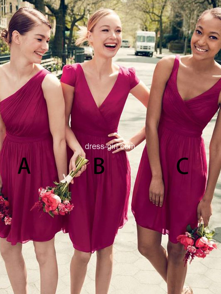 fe09af5aae35 Simple A-Line V Neck Short Sleeve Hot Pink Chiffon Short Bridesmaid Dresses,Cute  Wedding Party Dresses DG8020
