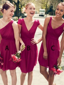 Simple A-Line V Neck Short Sleeve Hot Pink Chiffon Short Bridesmaid Dresses,Cute Wedding Party Dresses DG8020