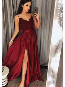 Charming A-Line Spaghetti Straps Burgundy Satin Long Prom Dresses with Appliques,Sexy Evening Party Dresses with Side Split DG8024
