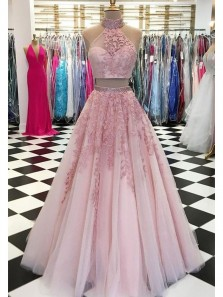 Modest A-Line Two Piece High Neck Pink Tulle Long Prom Dresses with Appliques,Evening party Gown DG8025