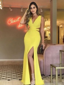 Charming V Neck Yellow Elastic Satin Mermaid Long Prom Dresses with Side Split,Evening Party Dresses DG8027