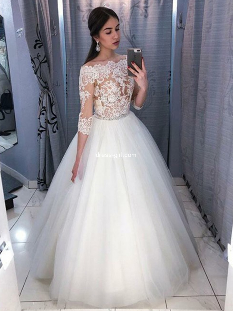 A Line Off The Shoulder 3 4 Sleeve White Tulle Wedding