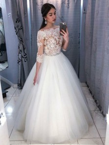 A-Line Off the Shoulder 3/4 Sleeve White Tulle Wedding Dresses with Lace Bridal Gown
