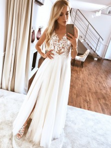 Simple A-Line V Neck Split White Tulle Wedding Dresses with Lace,White Prom Dresses