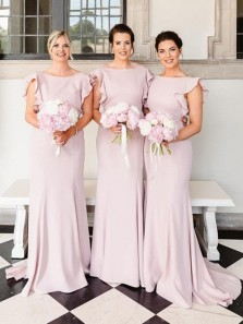 Simple Sheath Boat Neck Light Pink Chiffon Long Bridesmaid Dresses with Ruffle,Wedding Party Dresses with Train