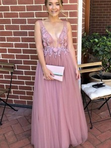 Princess A-Line Deep V Neck Open Back Blush Tulle Long Prom Dresses with Appliques,Girls Junior Graduation Gown