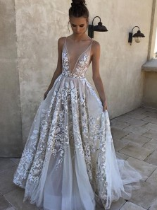Romantic A-Line Deep V Neck Open Back Ivory Lace Wedding Dresses