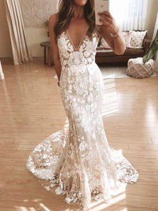 Elegant Mermaid V Neck Open Back Ivory Lace Wedding Dresses,2020 Bridal Dresses with Train