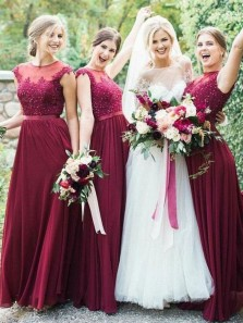 Elegant A-Line Round Neck Dark Red Chiffon Long Bridesmaid Dresses with Appliques