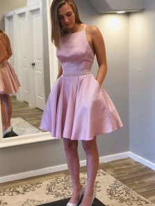 Cute A-Line Halter Pink Satin Short Homecoming Dresses with Pockets,Short Prom Dresses with Beading