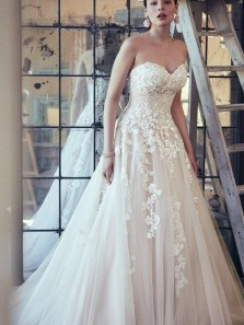Princess A-Line Sweetheart Tulle Wedding Dresses with Appliques Bridal Gowns