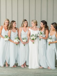 Simple Sheath V Neck Irregular Hem Light Sky Blue Chiffon Floor Length Bridesmiad Dresses Under 100