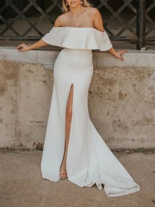 Stunning Mermaid Off the Shoulder White Soft Satin White Wedding Dresses with Split,Plus Size Bridal Gowns
