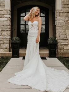 Charming Mermaid Sweetheart White Lace Wedding Dresses