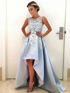 Elegant A-Line Round Neck Blue Satin High-Low Prom Dresses with Lace,Cocktail Party Dresses
