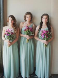 Unique A-Line One Shoulder Open Back Mint Chiffon Long Bridesmaid Dresses