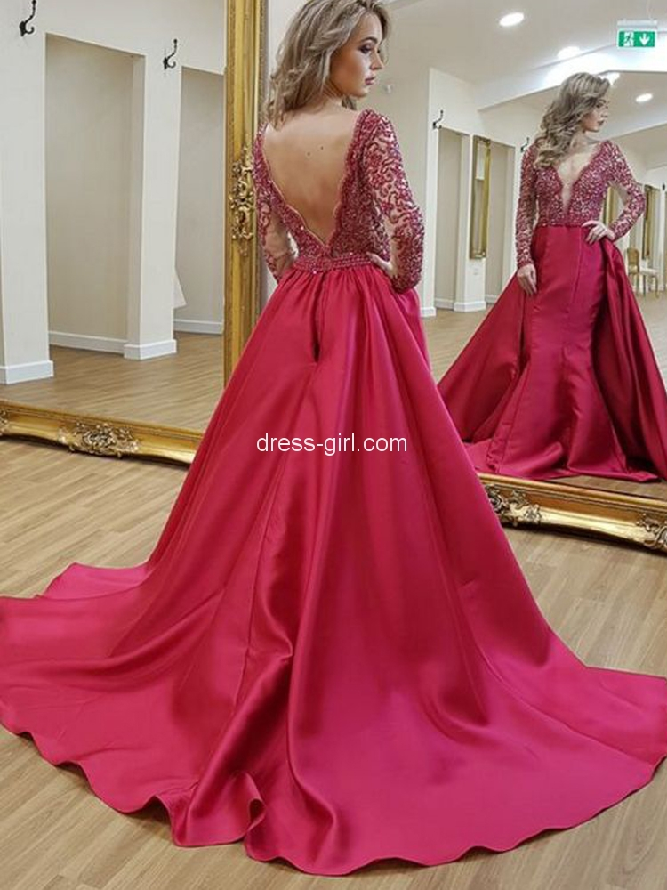 5f42295ddda Stunning A-Line V Neck Open Back Red Satin Long Sleeve Prom Dresses with  Lace