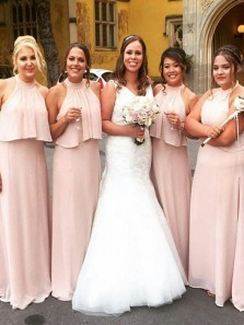 Elegant A-Line Halter Open Back Pink Chiffon Long Bridesmaid dresses