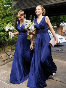 Charming A-Line V Neck Open Back Navy Blue Chiffon Long Bridesmaid Dresses