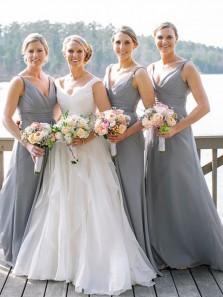 Elegant A-Line V Neck Grey Chiffon Long Bridesmaid Dresses with Ruched