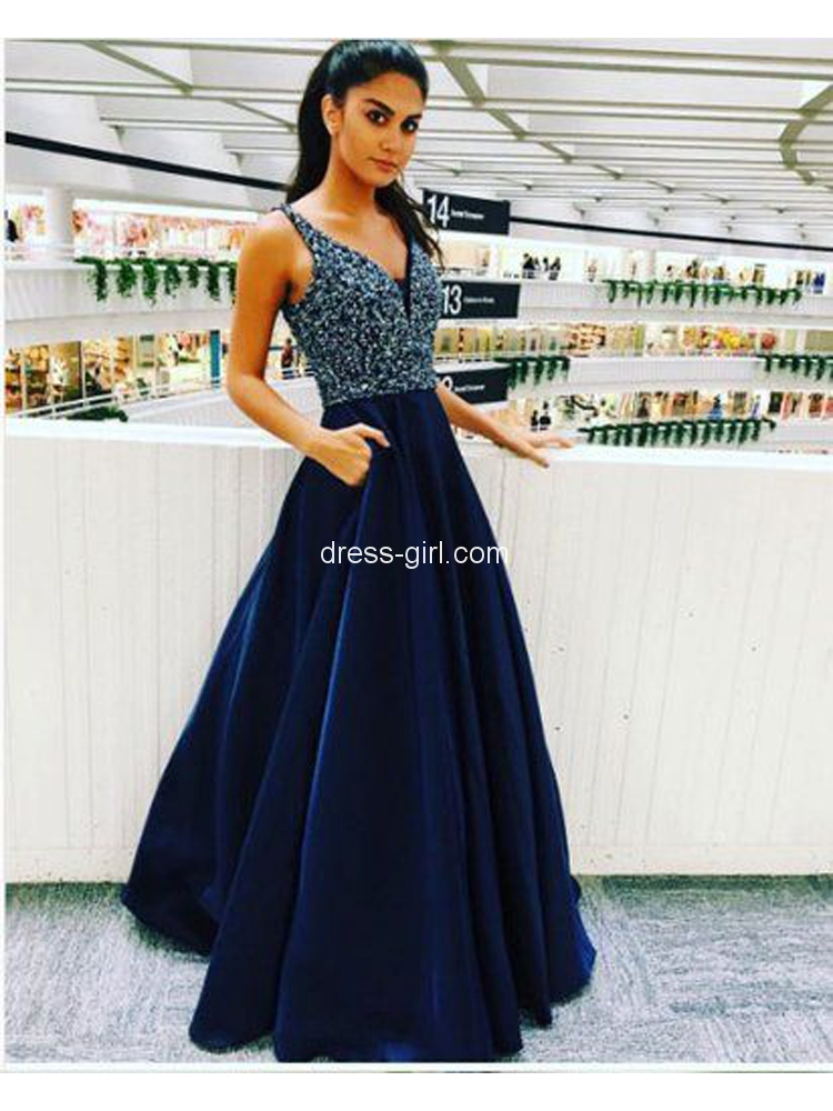 Elegant A Line V Neck Navy Blue Satin Long Prom Dresses With Beadedcharming Evening Party Gown Dg0917008