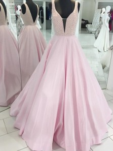 Charming A-Line V Neck Open Back Pastel Satin Long Prom Dresses with Beading,Elegant Evening Party Dresses