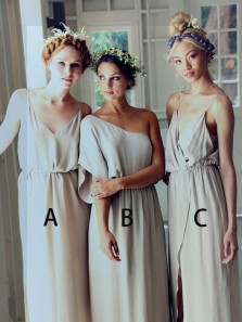 Simple A-Line V Neck Open Back Light Grey Chiffon Long Bridesmaid Dresses Under 100