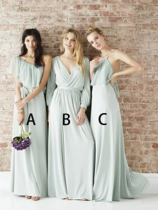 Simple A-Line V Neck Long Sleeve Pale Green Chiffon Long Bridesmaid Dresses Under 100